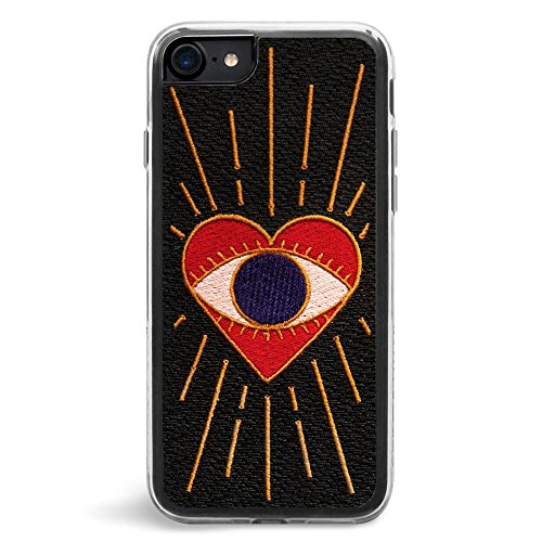 Case Embroidered Phone (Zero Gravity Case Compatible with iPhone 7/8 - Visions - Embroidered Eye Heart Design - 360° Protection, Drop Test Approved)
