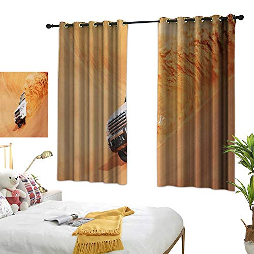 LsWOW Bedroom Curtains W63 x L45 Desert,SUV Truck Pick Up Big Car with Huge Wheels Driving Through The Sand Hills Print,White Yellow Curtains 2 Panel Set for
