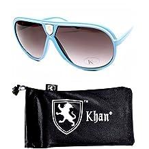 Aviator Pilot Turbo Vintage Retro Sunglasses Unisex A42-kp (blue w Khan pouch...
