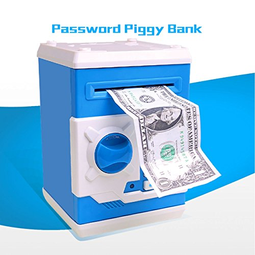 VXAR Piggy Bank Plastic Electronic Money Box Safe Password Code Auto Mini ATM Cash Coin Can Birthday Festival Toy for ()