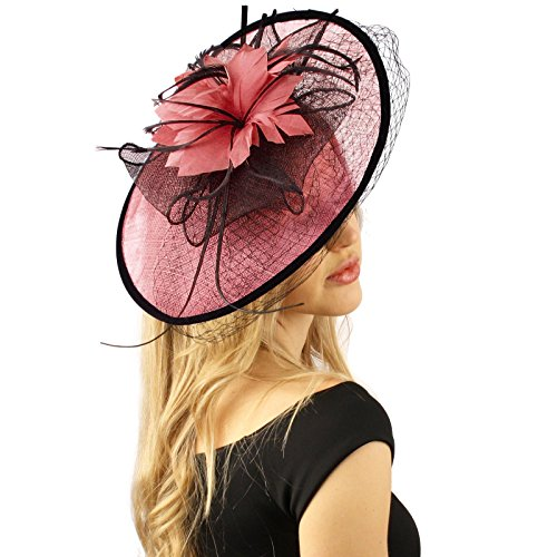SK Hat shop Oval Sinamay Feathers Floral Net Fascinators millinery Cocktail  Derby Hat a9e4f5ce8622