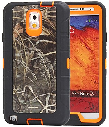 Huaxia Datacom Natural Tree Camo Heavy Duty Hybrid Armor Defender Full Body Protective Case Cover For Samsung Galaxy Note 3 - Camo Grass on Orange Core