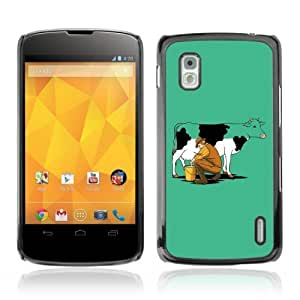 YOYOSHOP [Funny Milking Cow] LG Google Nexus 4 Case