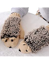 Junlinto Womens Cartoon Hedgehog Gloves Thicken Winter Hand Warmer Knitted Wrist Mittens-Beige