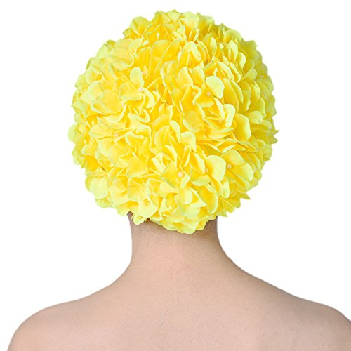 Vintage Swim Caps Petal-Retro style Floral Ladies Woman Swimming Cap Bathing Cap (yellow)