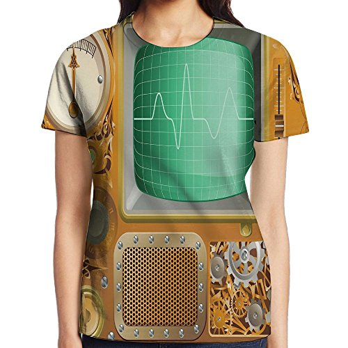 WuLion Industrial Victorian Style Grunge Steampunk Theme TV Gauger Clockwork Women's 3D Print T Shirt XXL White