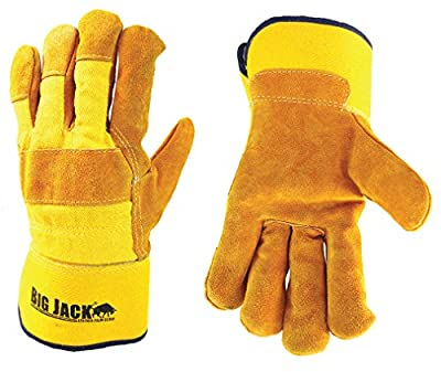 Better Grip Premium Grade Safety Winter Insulatated Split Cowhide Leather Palm Work Gloves, Safety Cuff, For Cold Weather, Yellow/ Gold