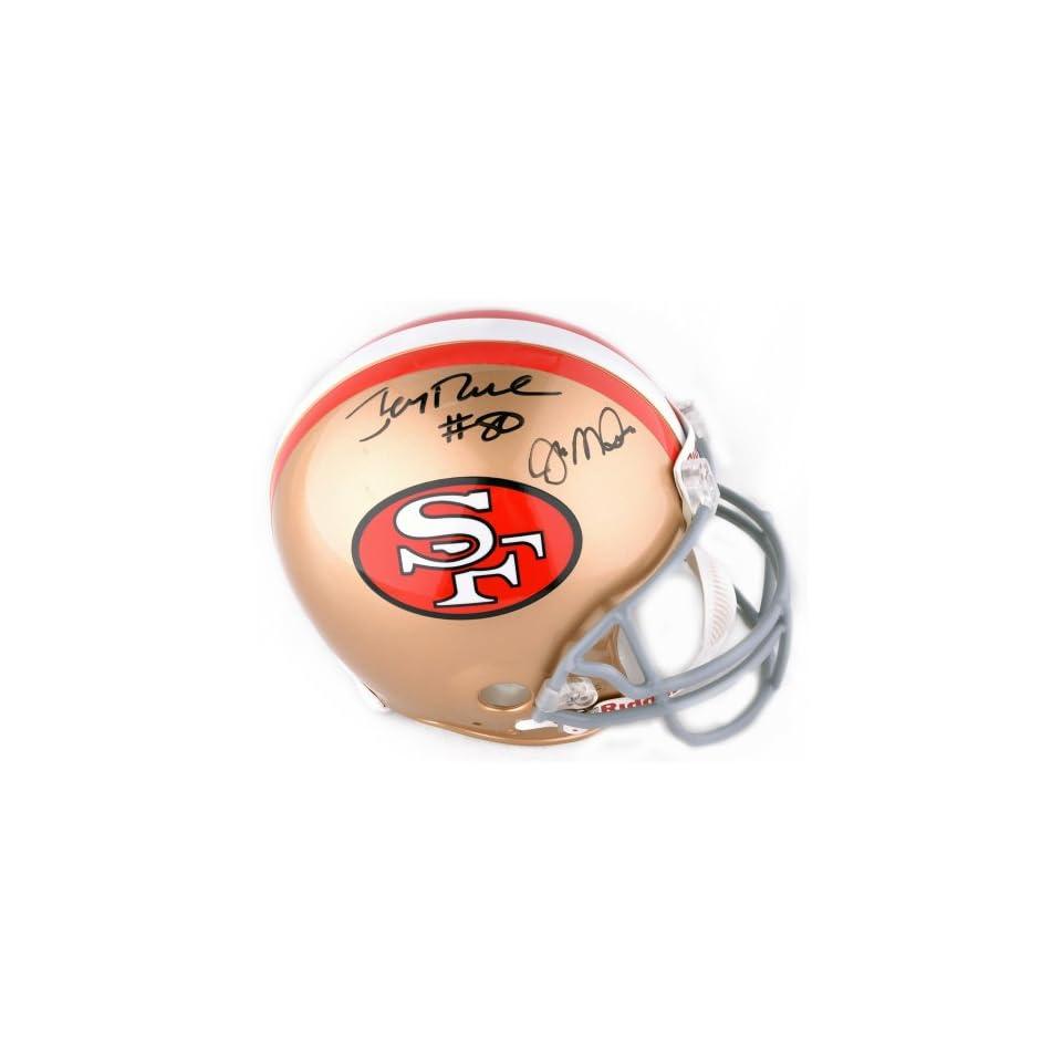 Jerry Rice & Joe Montana Signed Helmet   Authentic   Rice