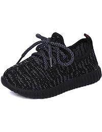 Casual niñas transpirable zapatillas de running Niños Knit ligero gimnasio Athletic Zapatillas Lace Up plegable...