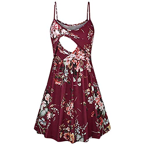 Mitiy Women's Summer Spaghetti Nursing Dress, Flared Sleeveless Swing Breastfeeding Dress (S, Wine)