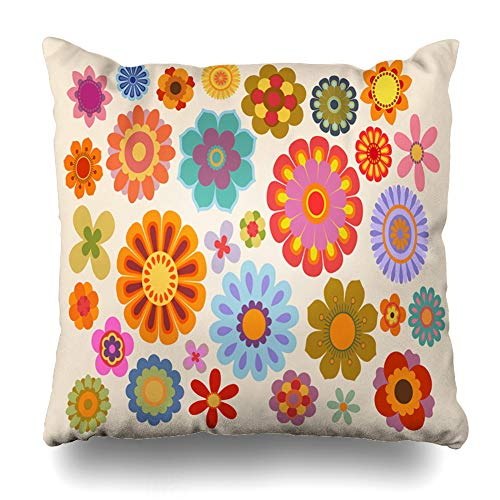 - Ahawoso Throw Pillow Cover 70S Orange Power Vintage Flowers Part Nature Old Yellow Psychedelic Pattern Graphic Floral Design Decor Zippered Cushion Case 20