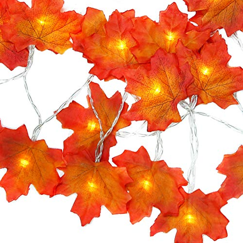 (Qomalaya Thanksgiving Decorations Lighted Fall Garland, Battery Powered Festival Christmas Decor String Lights 10 Feet 30 LED Maple Leaf String)