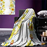 smallbeefly Daffodil Digital Printing Blanket Spring Flowers Composition Meditation Blossoming Results Natural Print Summer Quilt Comforter 80''x60'' Yellow White Red
