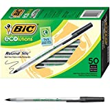 BIC Ecolutions Round Stic Ballpoint Pen, Medium Point (1.0mm), Black, 50-Count