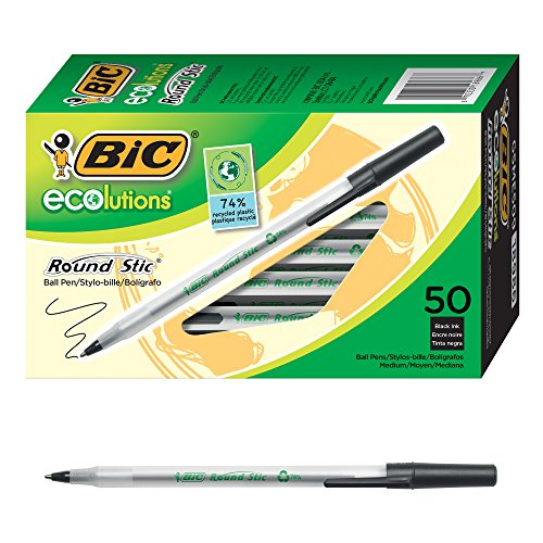 BIC Ecolutions Round Stic Ballpoint Pen, Medium Point (1.0mm), Black, 50-Count (Best Solution For Pigmentation)