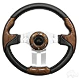 RHOX Aviator 5 Golf Cart Steering Wheel (Woodgrain Grip/Brushed Aluminum Spokes)