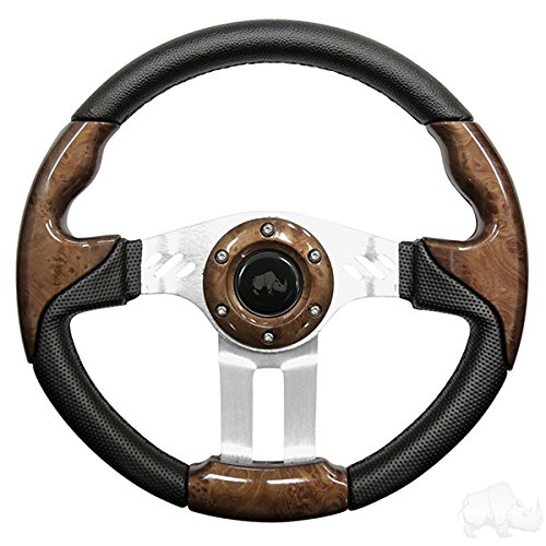 RHOX Aviator 5 Golf Cart Steering Wheel (Woodgrain Grip/Brushed Aluminum Spokes)