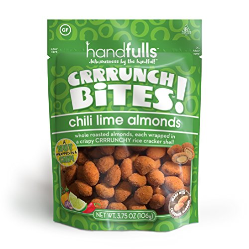 CrrrunchBites Chili Lime Almonds (6-Pack) by Handfulls. Whole Roasted Almonds Wrapped in a Potato Chip for a Satisfying Crunch. Gluten-free, Non-GMO, Vegan (3.75 oz Bags)