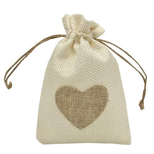 Heart Pouch - Sanrich 20 Pack Linen Burlap Bags 4