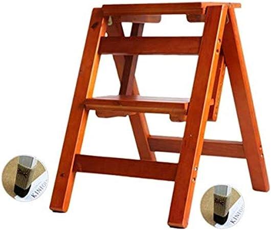 HBWJSH Escalera Plegable Taburete De Madera Maciza Escalera De 2 Peldaños Salón De Usos Múltiples Dormitorio Cocina Biblioteca Ascensor Herramienta Escalera Silla Estante De Almacenamiento Portátil: Amazon.es: Hogar
