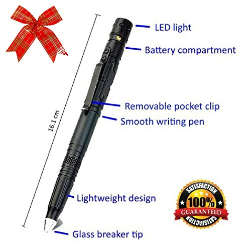 vival and Self Defense Tool with Tungsten Tip Glass Breaker for Emergency Escape, 2017 Best Portable Military Police Defender with Bright Push Button LED Flashlight and Ballpoint ()