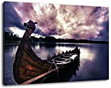 Old Viking ship Size: 60x40 cm Image strung on canvas, huge XXL images completely finished and framed with stretcher, Art print on wall picture with frame, cheaper than painting or picture, no posters or poster