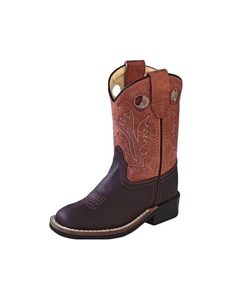 Old West Red Toddler Boys Oiled Leather Broad Square Toe Cowboy Boots