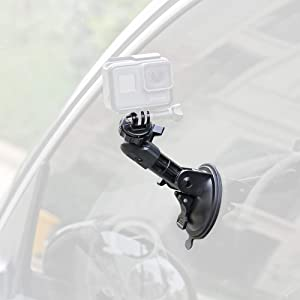 SUREWO Multi-Angle Powerful Suction Cup Mount Compatible with GoPro Hero 8 7 Black/Silver/White,Hero 6/5/4 Black,DJI Osmo Action and Most Action Cameras