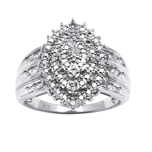 White Diamond Platinum over .925 Silver Marquise Cluster Ring (.35 cttw, HI Color, I3 Clarity) Size - Platinum Ring Diamond Cluster
