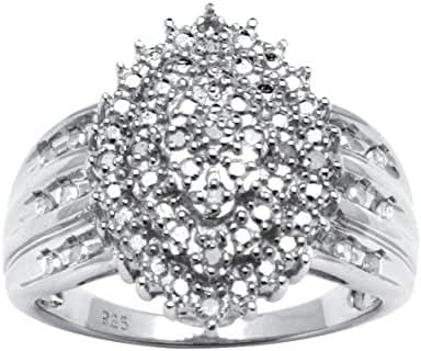 White Diamond Platinum over .925 Silver Marquise Cluster Ring (.35 cttw, HI Color, I3 Clarity)
