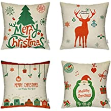 4 Packs Merry Christmas Square Pillowcases - 18 X 18 Inch Decorative Throw Pillow Cover, 1x Christmas Tree + 1x Reindeer + 1x Happy House + 1x Santa Claus by Hippih