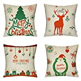 Decorative Pillow Cover - 4 Packs Merry Christmas Square Pillowcases - 18 X 18 Inch Decorative Throw Pillow Cover, 1x Christmas Tree + 1x Reindeer + 1x Happy House + 1x Santa Claus by Hippih