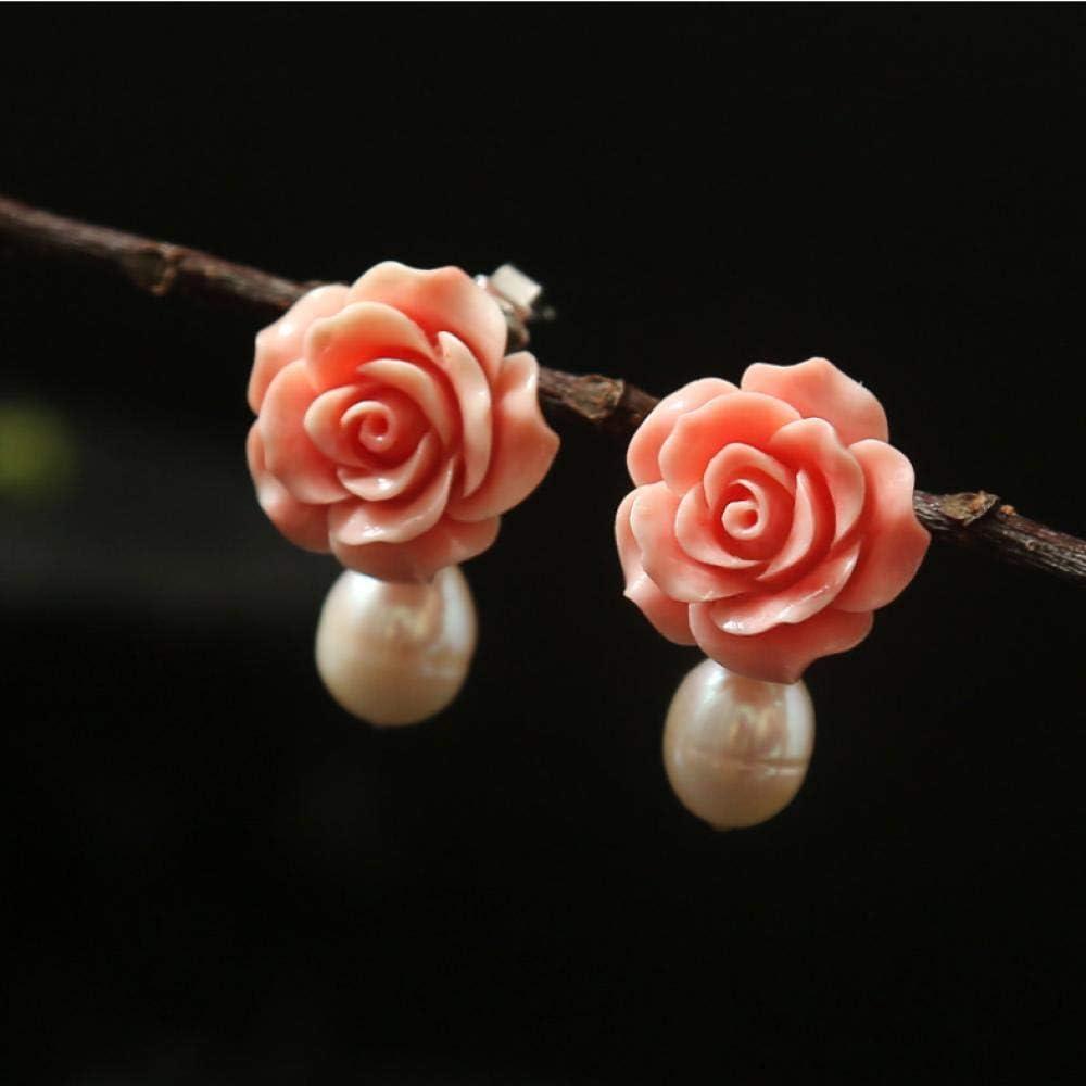 onedayday Pendientes de Plata 925 Hechos a Mano con Polvo de Perlas en Relieve Pendientes para Mujer