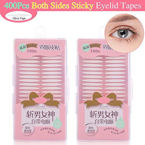 Double Eyelid Tape Invisible Eyelid Tape Stickers Two-sided Sticky Eye Tape - Instant Eyelid Lift without Surgery - Medical Fiber - Perfect for Hooded, Droopy, Uneven, or Mono-eyelids(200Pairs/400Pcs) (Best Invisible Eyelid Tape)