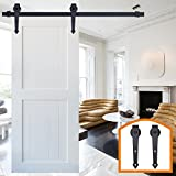 HomeDeco Hardware Black Rustic Aroow Design Retro Wood Sliding Barn Door Hardware Interior Flat Tracks Kits for Single Door (6.6FT Single Door Kit)