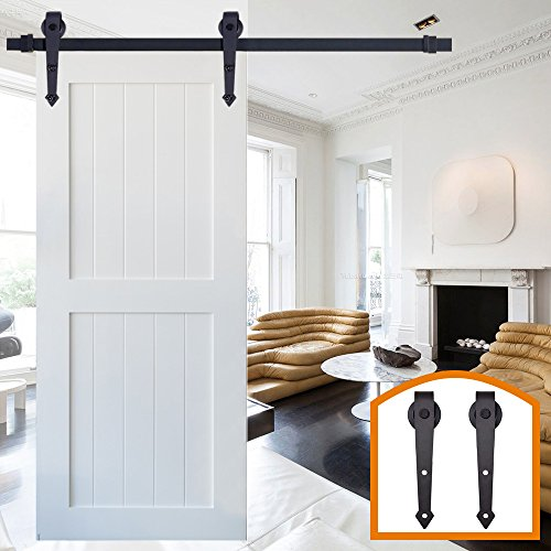 HomeDeco Hardware Black Rustic Arrow Style Design Retro Wood Sliding Barn  Door Hardware Interior Flat Tracks Kit Roller Tracl(12FT Single Door Kit)