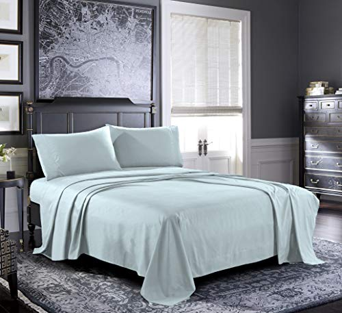 2000 Jersey - Fresh Linen Queen Sheets [4-Piece, Aquamarine] Hotel Luxury Bed Sheets - Extra Soft 1800 Microfiber Sheet Set, Wrinkle, Fade, Stain Resistant - Deep Pocket Fitted Sheet, Flat Sheet, Pillow Cases