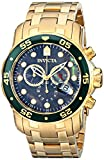 Invicta Mens Pro Diver Scuba Swiss Chronograph Black Dial 18k Gold Plated Watch 80074