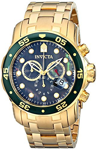 Invicta Mens Pro Diver Scuba Swiss Chronograph Black Dial 18k Gold Plated Watch 80074 (Diver Pro Swiss)