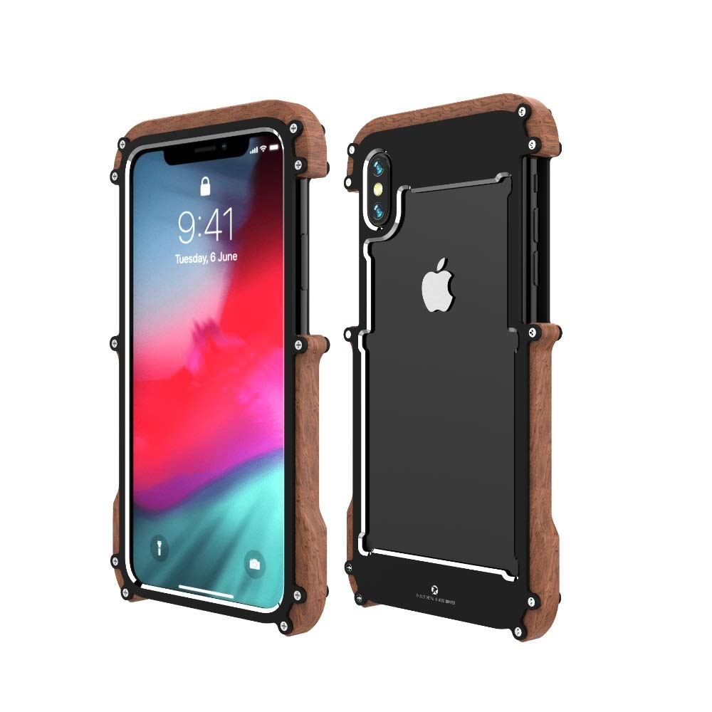 iPhone XS Wood Metal Frame Case,Drop Protection Ultra Thin Aluminum Metal Cover Protective Case Shockproof Dropproof Bumper Frame for Apple iPhone XS 5.8inch 2018 Black