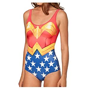One Piece Wonder Woman Cape Suit Swimsuit