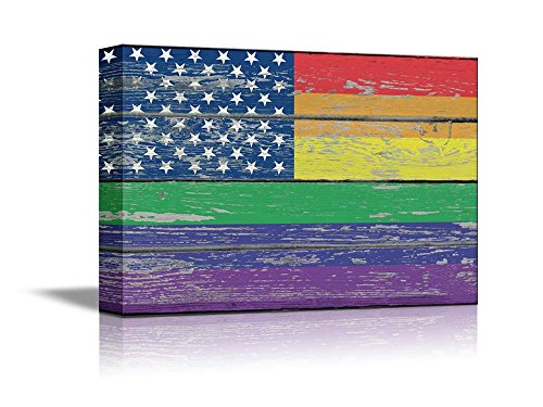 Canvas Prints Wall Art - Pride Rainbow USA Flag Gay Pride Flag / LGBT Pride Flag on