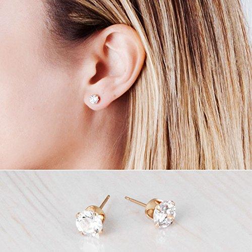Gold Filled CZ Diamond Stud Earrings - Handmade Zircon Bridal and Bridesmaids Post Earrings - 6mm