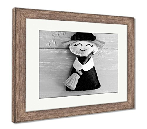 Ashley Framed Prints Funny Felt Witch Toy Isolated On Purple Wooden Halloween Crafts Idea for Kids, Wall Art Home Decoration, Black/White, 26x30 (Frame Size), Rustic Barn Wood Frame, AG6079252