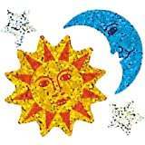 Jillson Roberts Prismatic Stickers, Sun, Moon, and Stars, Bulk Continuous Roll (BS7049)
