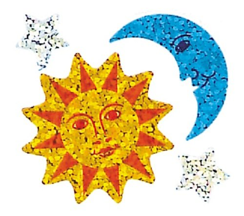 BS7049 Jillson Roberts Prismatic Stickers and Stars Sun Bulk Continuous Roll Moon