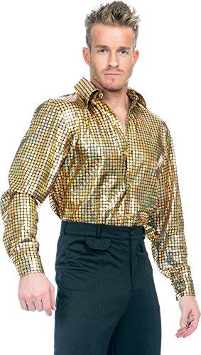 Charades Men's Gold Hologram Disco Dude Shirt, X-Large -