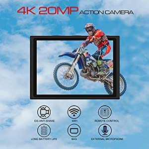 [2020 New] Apexcam Pro EIS Action Camera 4K 2...