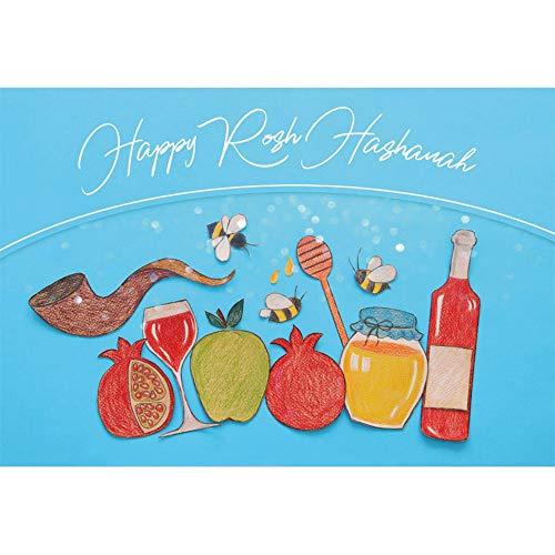 (Renaiss 6x4ft Happy Rosh Hashanah Backdrop Honey Apple Pomegranate Shofar Horn Wine Jewish New Year Traditional Festival Celebration Party Background Decor Photo Studio Props Vinyl Wallpaper)