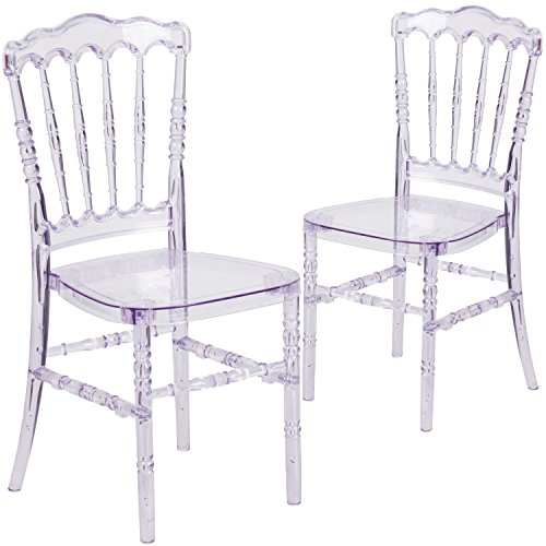 Flash Furniture Elegance Crystal Ice Stacking Napoleon Chair (2 Pack)